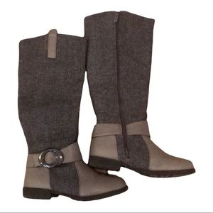 Tall Grey Boots Anna size 7 texture fabric knee